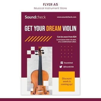 Flyer-vorlage für musikinstrumenten-konzept