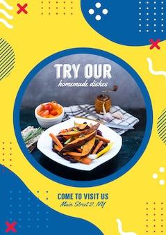 Flyer vorlage für restaurant in memphis stil