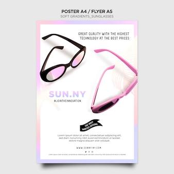 Flyer vorlage für sonnenbrillen