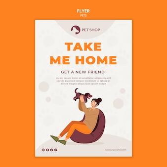 Flyer-vorlage für tierhandlung