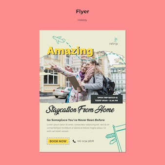 Flyer vorlage für virtual-reality-urlaubsreise
