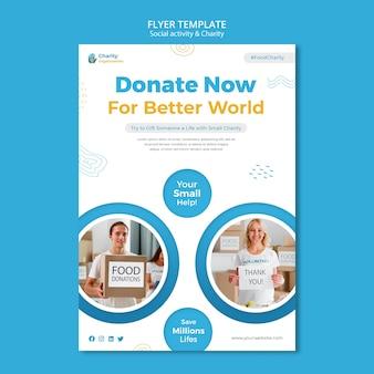 Flyer-vorlage für wohltätigkeitsaktivitäten