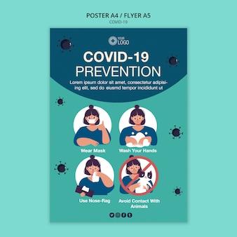 Flyer vorlage mit covid 19 thema