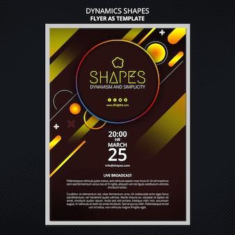 Flyer vorlage mit dynamischen geometrischen neonformen