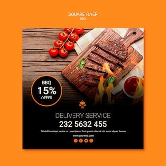 Flyer vorlage mit grill design