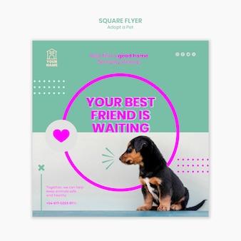 Flyer vorlage mit haustier adoptieren