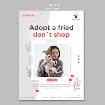 Flyer vorlage mit haustier thema adoptieren