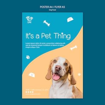 Flyer vorlage mit hundefutter thema