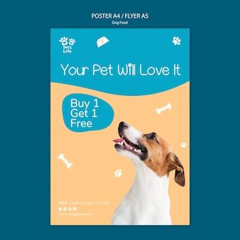 Flyer vorlage mit hundefutter