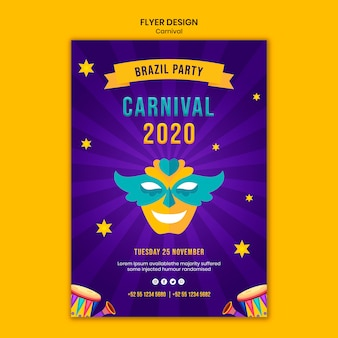 Flyer vorlage mit karneval thema