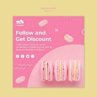 Flyer vorlage mit macarons design