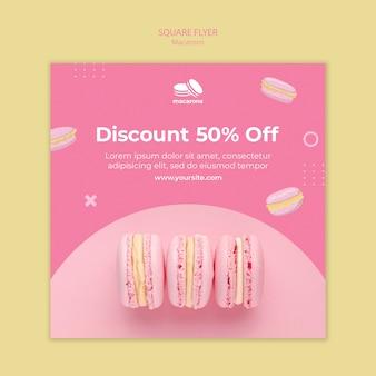 Flyer vorlage mit macarons thema