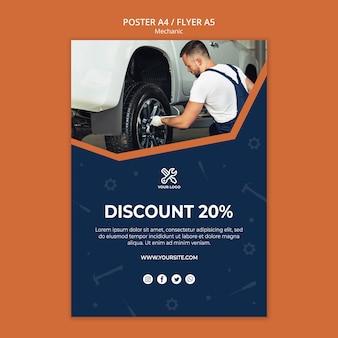 Flyer vorlage mit mechaniker reparatur auto