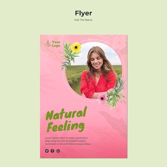 Flyer-vorlage mit natürlichem gefühl