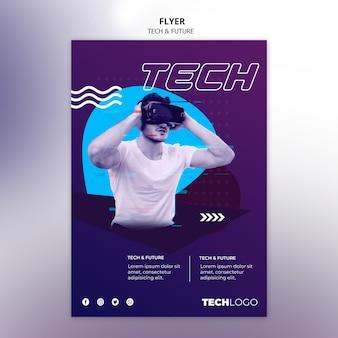 Flyer vorlage mit technologiethema