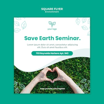 Flyer vorlage mit umweltstil