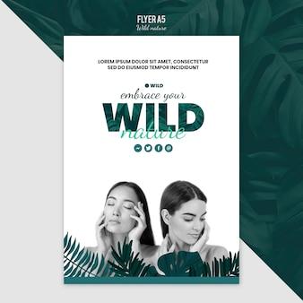 Flyer vorlage thema mit wilder natur