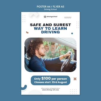 Flyer-vorlage zum fahren lernen
