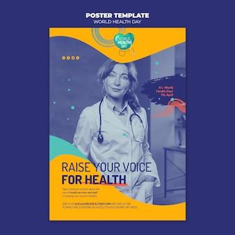 Flyer-vorlage zum weltgesundheitstag mit foto