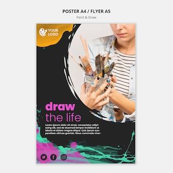 Flyer vorlage zum zeichnen und malen von künstlern
