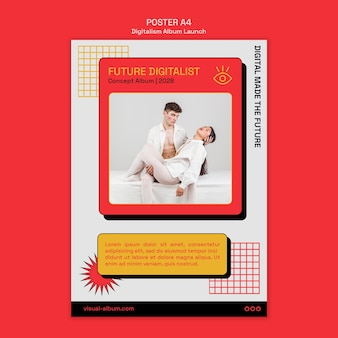 Flyer zum start des digitalismus-albums mit foto