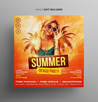 Flyer zur sommer-strandparty