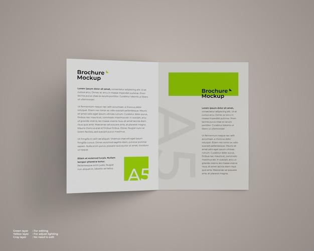 Flying a5 bifold broschüre modell draufsicht
