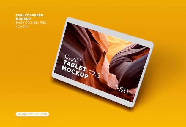 Flying clay tablet screen mock-up Premium PSD