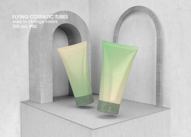 Flying cosmetic tube modell-design-rendering