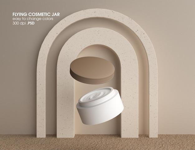 Flying cream jar container modell design rendering