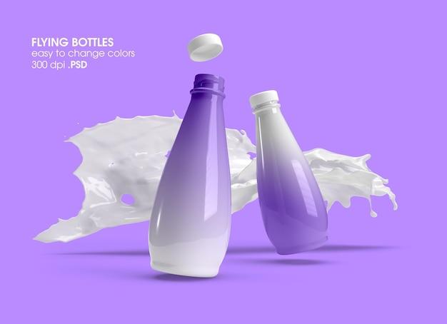 Flying glass bottles mockup-design-rendering