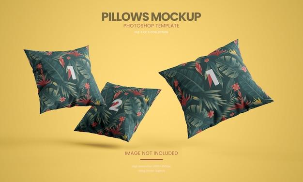 Flying pillows mockup set