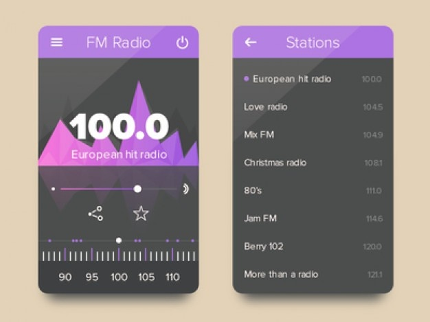 Fm radio flach ui-kit