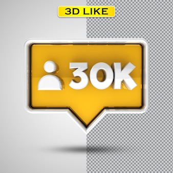 Folgen sie dem 30k gold 3d-rendering