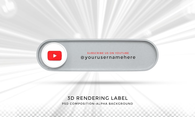 Folgen sie mir auf youtube social media unteres drittel 3d-design-render-symbol-abzeichen mit rahmen