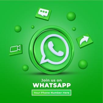 Folgen sie uns auf dem whatsapp social media square banner mit 3d-logo und link-profilbox