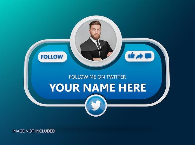 Folgen sie uns auf twitter social media mit 3d-logo und linkprofil-box