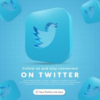 Folgen sie uns auf twitter social media square banner mit 3d gerenderten symbol und profillink premium psd
