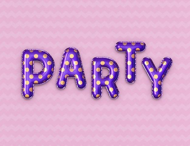 Folienballon party text effekt vorlage