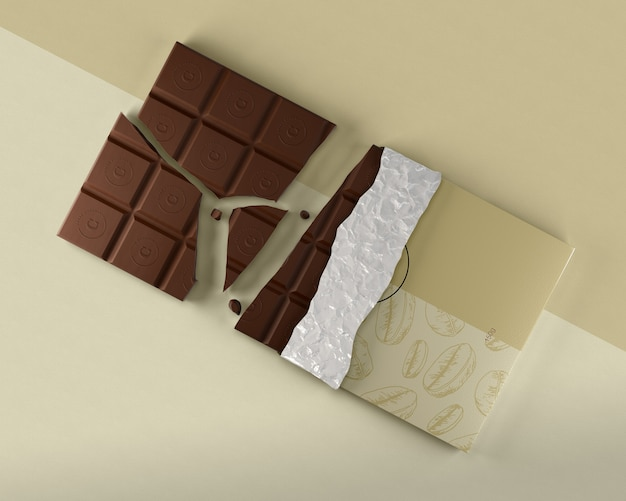 Folienverpackung für schokoladentabletten-mock-up