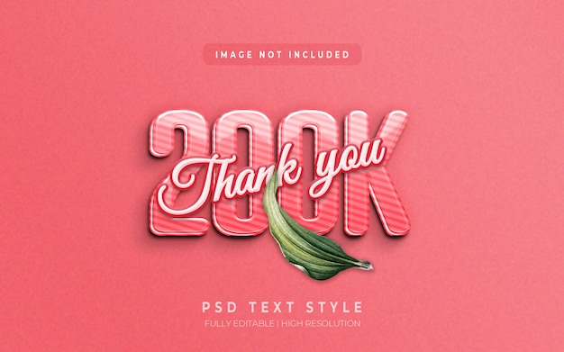 Follower 3d-text-stil-effekt danke 200k