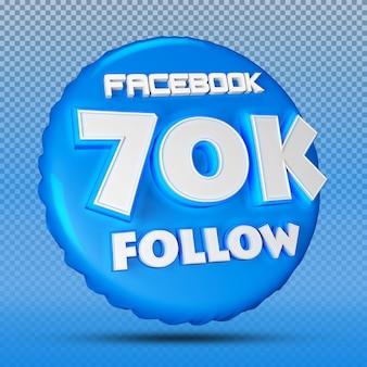 Follower von facebook nummer 3d blau 70k