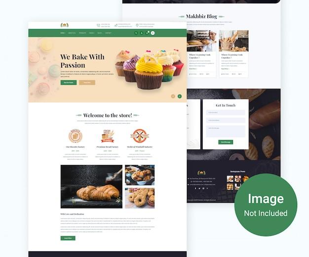Food bakery website design Premium PSD