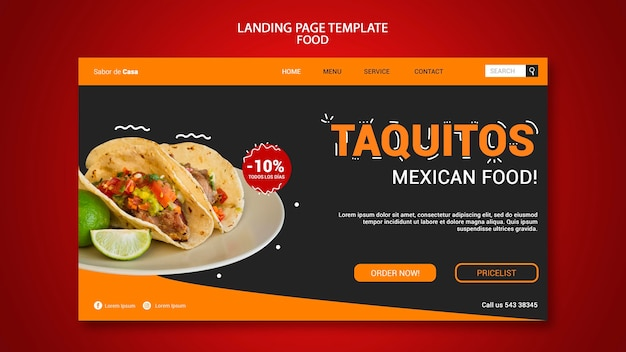 Food landing page template design