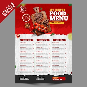 Food menu poster vorlage