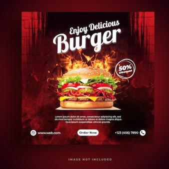 Food-menü und restaurant burger social media banner vorlage