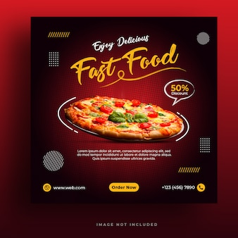 Food-menü und restaurant pizza social media banner vorlage