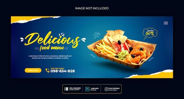 Food-menü und restaurant social media cover-vorlage