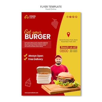 Food online-konzept flyer modell