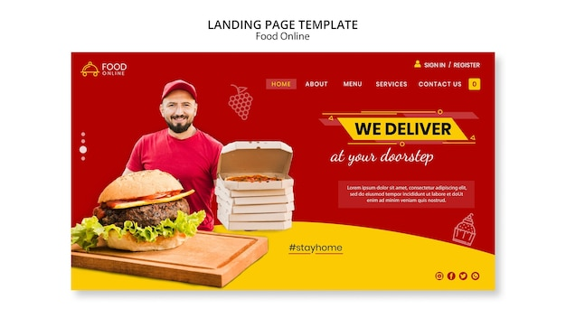 Food online-konzept landing page mock-up